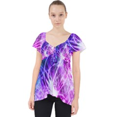 Space Galaxy Purple Blue Lace Front Dolly Top