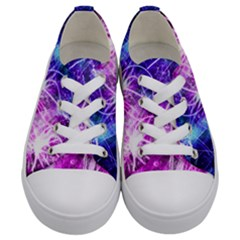 Space Galaxy Purple Blue Kids  Low Top Canvas Sneakers