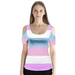 Big Stripes Butterfly Sleeve Cutout Tee