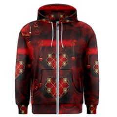 Wonderful Elegant Decoative Heart With Flowers On The Background Men s Zipper Hoodie