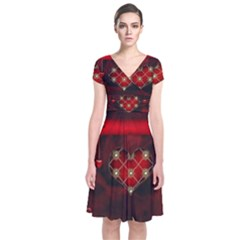 Wonderful Elegant Decoative Heart With Flowers On The Background Short Sleeve Front Wrap Dress