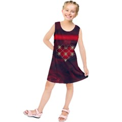 Wonderful Elegant Decoative Heart With Flowers On The Background Kids  Tunic Dress