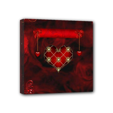 Wonderful Elegant Decoative Heart With Flowers On The Background Mini Canvas 4  X 4