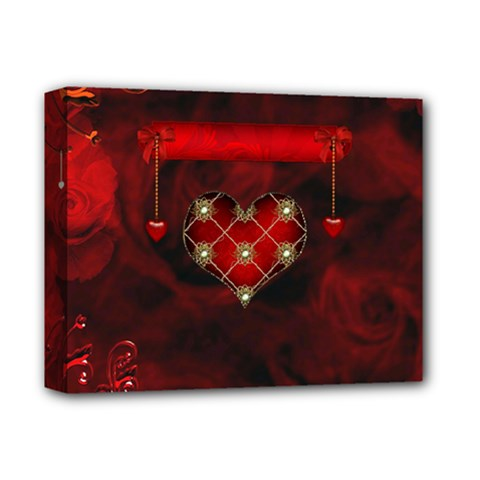 Wonderful Elegant Decoative Heart With Flowers On The Background Deluxe Canvas 14  X 11