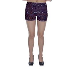 Hippy Boho Chestnut Warped Pattern Skinny Shorts