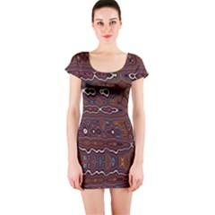 Hippy Boho Chestnut Warped Pattern Short Sleeve Bodycon Dress
