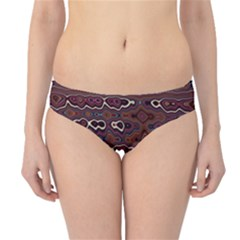 Hippy Boho Chestnut Warped Pattern Hipster Bikini Bottoms