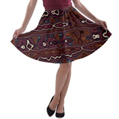 Hippy Boho Chestnut Warped Pattern A Line Skater Skirt