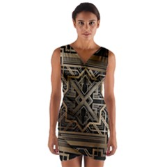 Art Nouveau Wrap Front Bodycon Dress