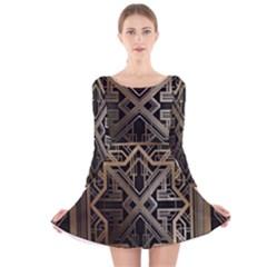 Art Nouveau Long Sleeve Velvet Skater Dress