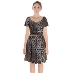 Art Nouveau Short Sleeve Bardot Dress