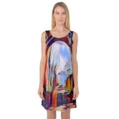 Abstract Tunnel Sleeveless Satin Nightdress