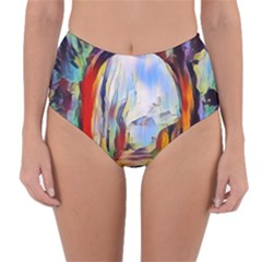 Abstract Tunnel Reversible High Waist Bikini Bottoms
