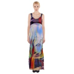Abstract Tunnel Maxi Thigh Split Dress