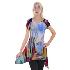 Abstract Tunnel Short Sleeve Side Drop Tunic
