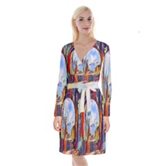 Abstract Tunnel Long Sleeve Velvet Front Wrap Dress
