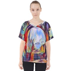 Abstract Tunnel V Neck Dolman Drape Top