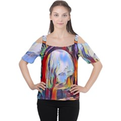 Abstract Tunnel Cutout Shoulder Tee