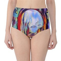 Abstract Tunnel High Waist Bikini Bottoms