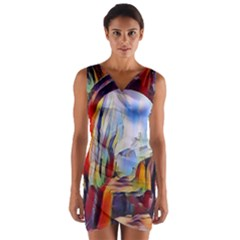 Abstract Tunnel Wrap Front Bodycon Dress