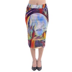 Abstract Tunnel Midi Pencil Skirt