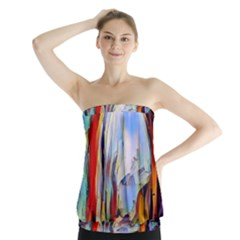 Abstract Tunnel Strapless Top