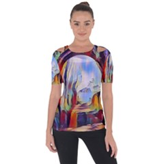 Abstract Tunnel Short Sleeve Top