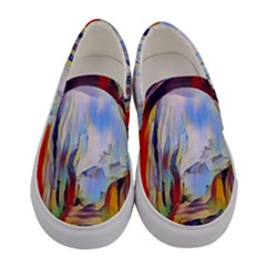 Abstract Tunnel Women s Canvas Slip Ons