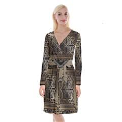 Art Nouveau Long Sleeve Velvet Front Wrap Dress