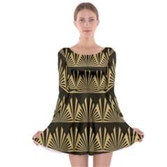 Art Deco Long Sleeve Skater Dress