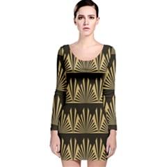 Art Deco Long Sleeve Velvet Bodycon Dress