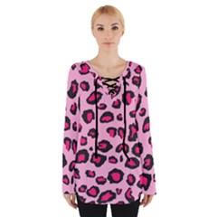 Pink Leopard  Tie Up Tee