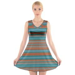Winter Pattern 1 V Neck Sleeveless Skater Dress
