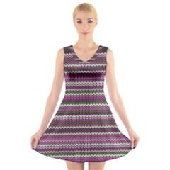 Winter Pattern 2 V Neck Sleeveless Skater Dress