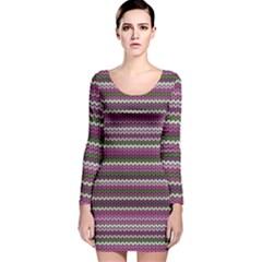 Winter Pattern 2 Long Sleeve Velvet Bodycon Dress