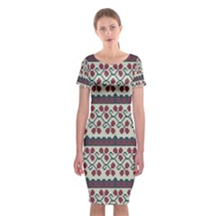 Winter Pattern 5 Classic Short Sleeve Midi Dress