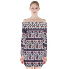 Winter Pattern 5 Long Sleeve Off Shoulder Dress