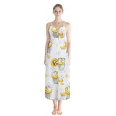 Winter Pattern 6 Button Up Chiffon Maxi Dress
