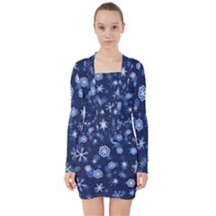 Winter Pattern 8 V Neck Bodycon Long Sleeve Dress
