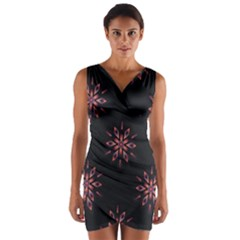 Winter Pattern 12 Wrap Front Bodycon Dress