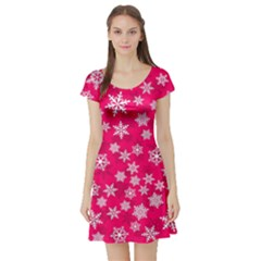 Winter Pattern 13 Short Sleeve Skater Dress