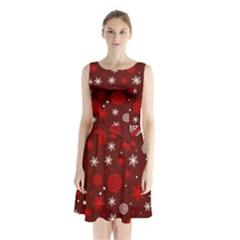 Winter Pattern 14 Sleeveless Waist Tie Chiffon Dress