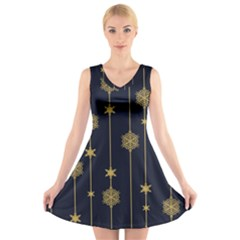 Winter Pattern 15 V Neck Sleeveless Skater Dress
