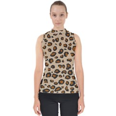 Leopard  Mock Neck Shell Top