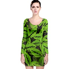 Nature Print Pattern Long Sleeve Bodycon Dress