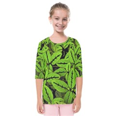 Nature Print Pattern Kids  Quarter Sleeve Raglan Tee