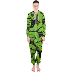 Nature Print Pattern Hooded Jumpsuit (ladies)