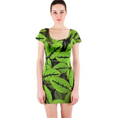 Nature Print Pattern Short Sleeve Bodycon Dress