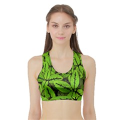 Nature Print Pattern Sports Bra With Border