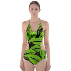 Nature Print Pattern Cut Out One Piece Swimsuit